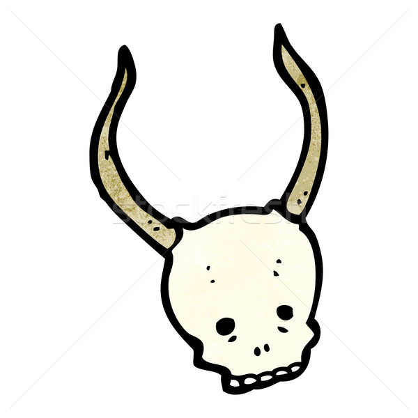 cartoon horned devil skull Stock photo © lineartestpilot