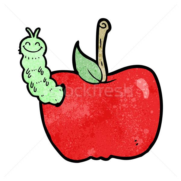 Foto stock: Desenho · animado · maçã · bicho · projeto · fruto · arte