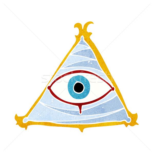 Cartoon mistica occhi simbolo mano design Foto d'archivio © lineartestpilot