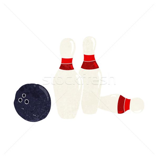 Cartoon palla da bowling mano design Crazy bowling Foto d'archivio © lineartestpilot