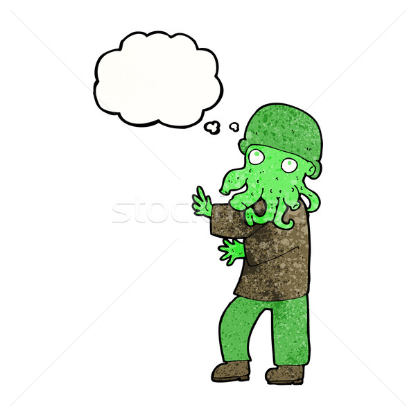 cartoon alien man with thought bubble Stock photo © lineartestpilot