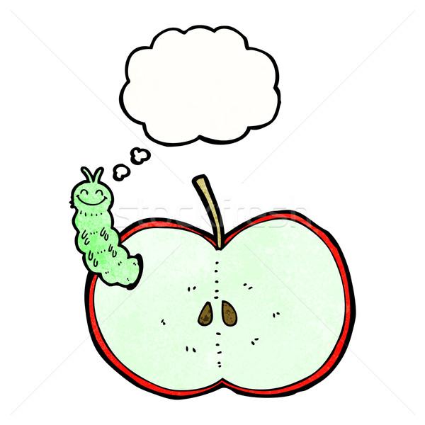 Rajz rovar eszik alma gondolatbuborék kéz Stock fotó © lineartestpilot