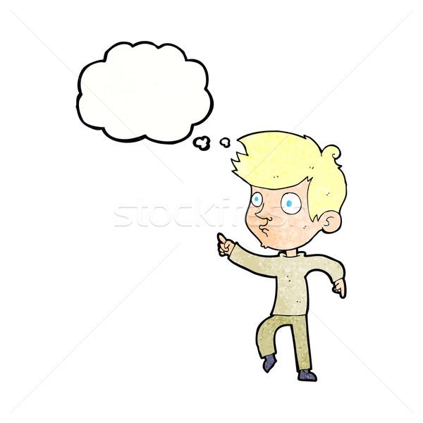 Cartoon указывая мальчика мысли пузырь стороны человека Сток-фото © lineartestpilot