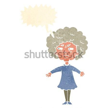 Cartoon горький старуху мысли пузырь женщину стороны Сток-фото © lineartestpilot
