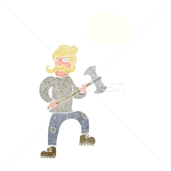 Cartoon uomo ax bolla di pensiero mano design Foto d'archivio © lineartestpilot