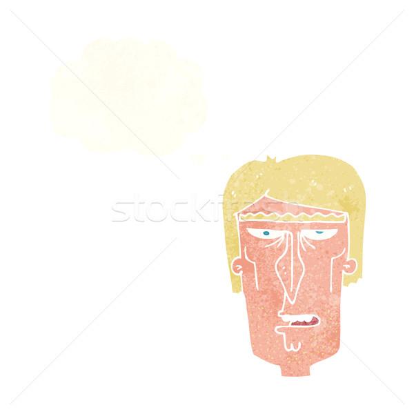 Cartoon zły twarz bubble myśl strony projektu Zdjęcia stock © lineartestpilot