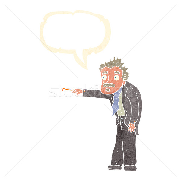 cartoon man trembling with key unlocking with speech bubble Stock photo © lineartestpilot
