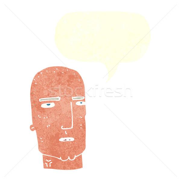 Karikatür kel sert adam konuşma balonu el Stok fotoğraf © lineartestpilot