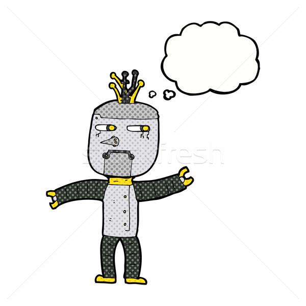 Desenho animado robô balão de pensamento mão projeto louco Foto stock © lineartestpilot