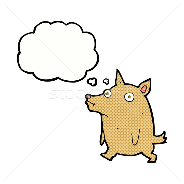 cartoon funny little dog with thought bubble Stock photo © lineartestpilot