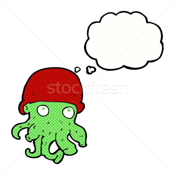 Cartoon straniero testa indossare Hat bolla di pensiero Foto d'archivio © lineartestpilot