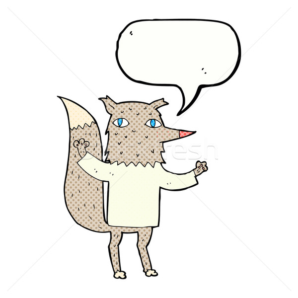 Cartoon волка речи пузырь стороны дизайна искусства Сток-фото © lineartestpilot