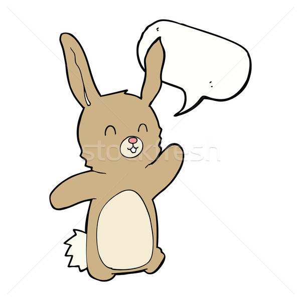 Cartoon feliz conejo bocadillo mano diseno Foto stock © lineartestpilot