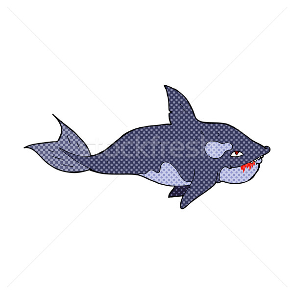 Komik karikatür katil balina Retro Stok fotoğraf © lineartestpilot