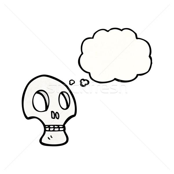 ストックフォト: 落書き · スタイル · 頭蓋骨 · 思考バブル · 話し · レトロな