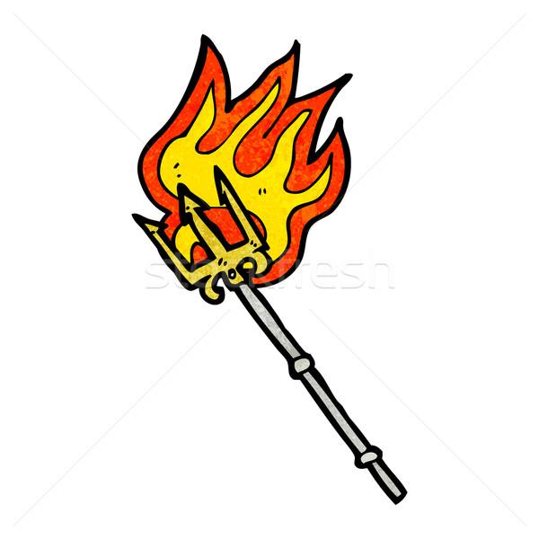 cartoon flaming trident Stock photo © lineartestpilot