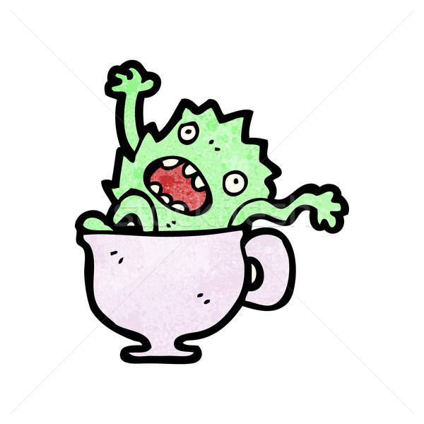 Karikatür canavar çay fincanı sanat Retro fincan Stok fotoğraf © lineartestpilot
