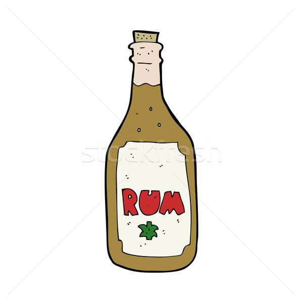 Foto d'archivio: Cartoon · rum · bottiglia · mano · design · Crazy