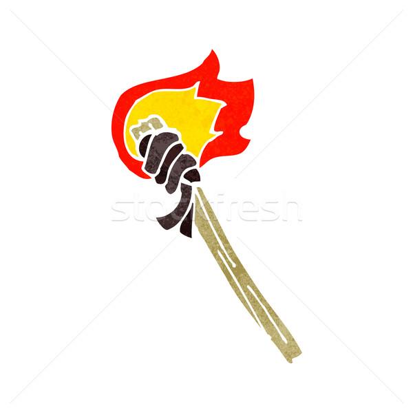 Cartoon сжигание факел стороны дизайна Crazy Сток-фото © lineartestpilot