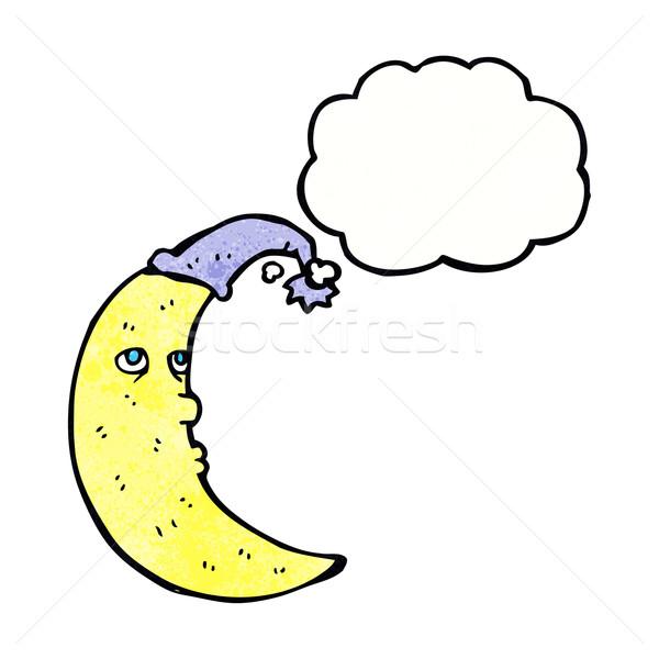 álmos hold rajz gondolatbuborék kéz terv Stock fotó © lineartestpilot