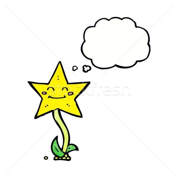 Cartoon звездой цветок мысли пузырь стороны лице Сток-фото © lineartestpilot