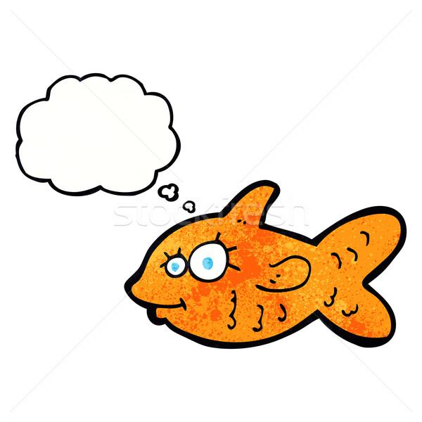 Cartoon счастливым Goldfish мысли пузырь стороны лице Сток-фото © lineartestpilot