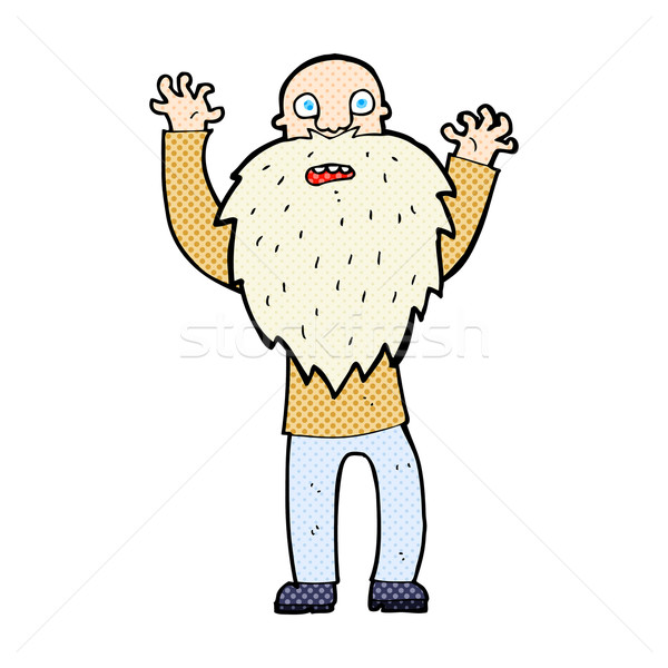 comic cartoon frightened old man with beard Stock photo © lineartestpilot