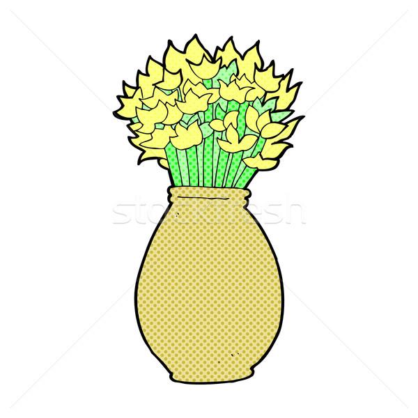 Foto stock: Cômico · desenho · animado · vaso · flores · retro
