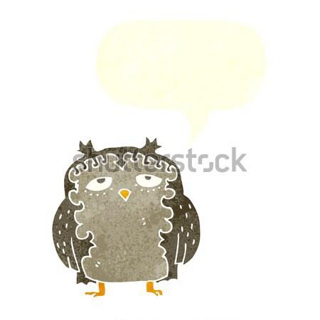 Cartoon sabio edad búho burbuja de pensamiento mano Foto stock © lineartestpilot