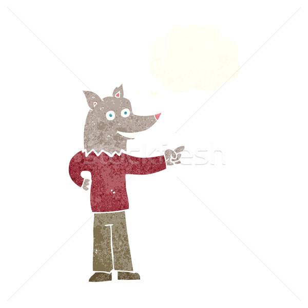 Cartoon волка человека указывая мысли пузырь стороны Сток-фото © lineartestpilot