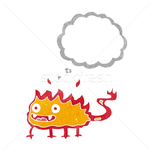 Cartoon piccolo fuoco demon bolla di pensiero mano Foto d'archivio © lineartestpilot