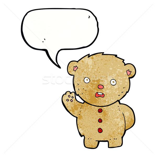 Cartoon ongelukkig teddybeer tekstballon hand ontwerp Stockfoto © lineartestpilot