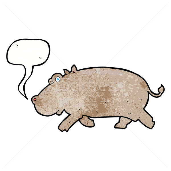 cartoon hippopotamus with speech bubble Stock photo © lineartestpilot