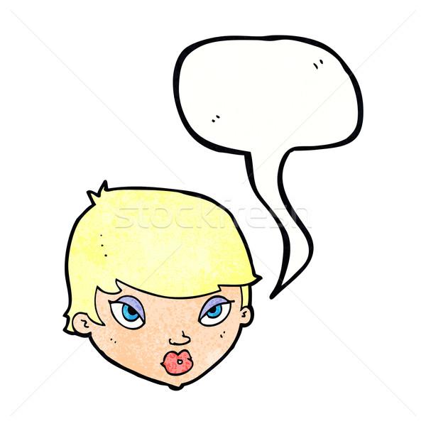 漫画 女性 吹き出し 手 デザイン 頭 ストックフォト © lineartestpilot