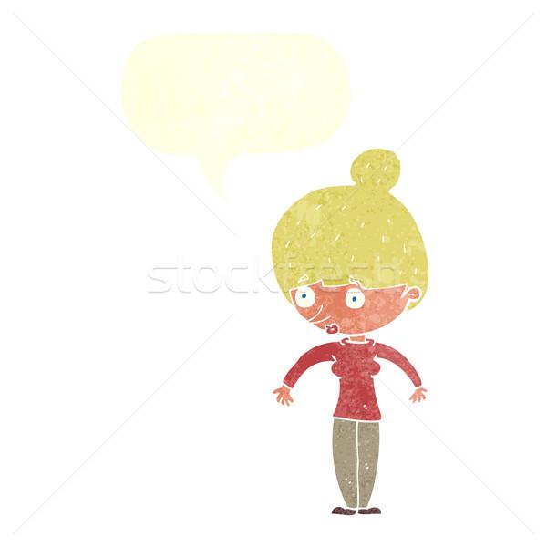 Rajz nő bámul szövegbuborék kéz terv Stock fotó © lineartestpilot