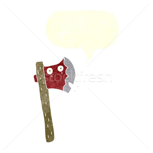Desenho animado machado balão de fala mão projeto louco Foto stock © lineartestpilot