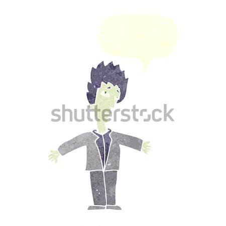 Cartoon вампир человека речи пузырь стороны дизайна Сток-фото © lineartestpilot