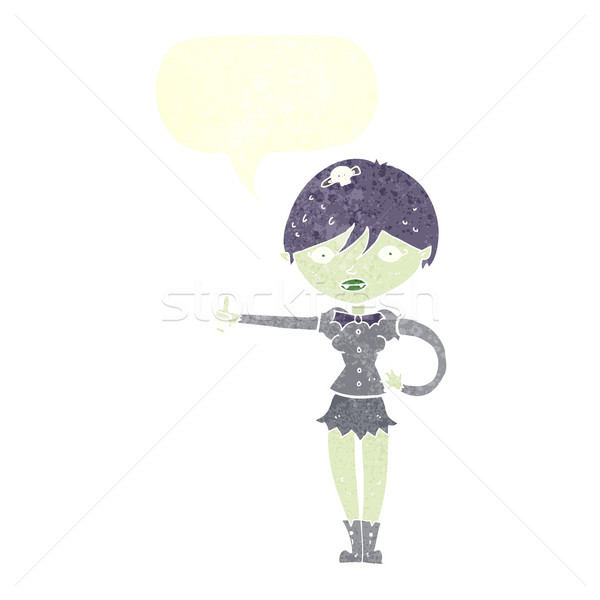 cartoon vampire girl giving thumbs up symbol with speech bubble Stock photo © lineartestpilot
