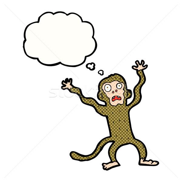 Cartoon przestraszony małpa bubble myśl strony projektu Zdjęcia stock © lineartestpilot