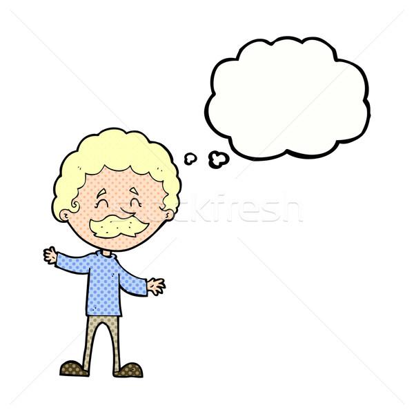 Cartoon счастливым человека усы мысли пузырь стороны Сток-фото © lineartestpilot