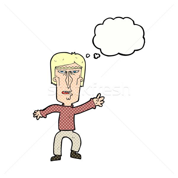 Desenho animado zangado homem aviso balão de pensamento Foto stock © lineartestpilot