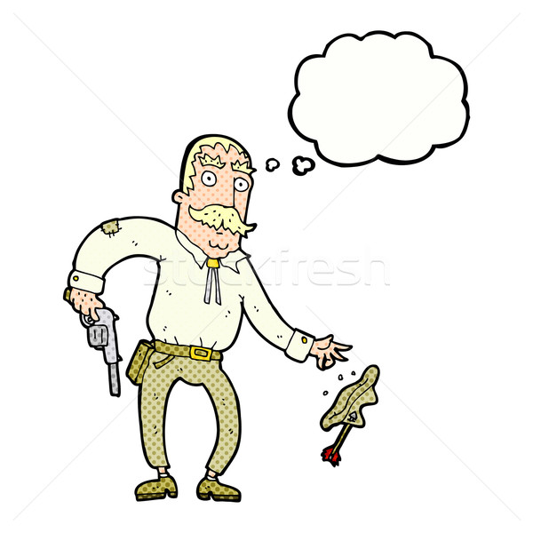 cartoon wild west cowboy with thought bubble Stock photo © lineartestpilot