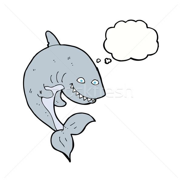 Cartoon акула мысли пузырь стороны дизайна искусства Сток-фото © lineartestpilot
