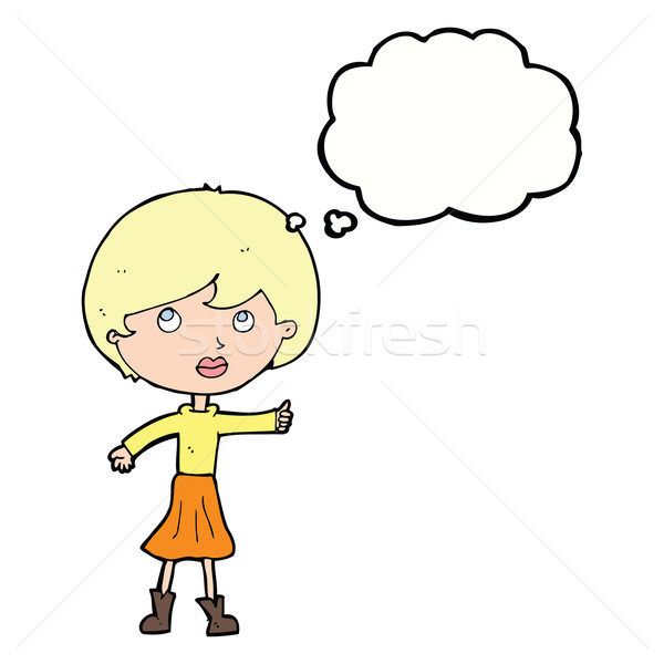 cartoon woman asking question with thought bubble Stock photo © lineartestpilot