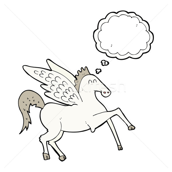 cartoon pegasus with thought bubble Stock photo © lineartestpilot