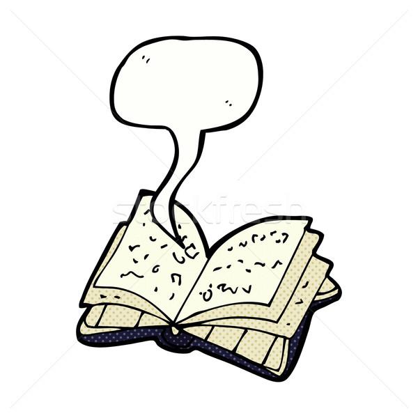 Cartoon Open boek tekstballon hand ontwerp bibliotheek Stockfoto © lineartestpilot
