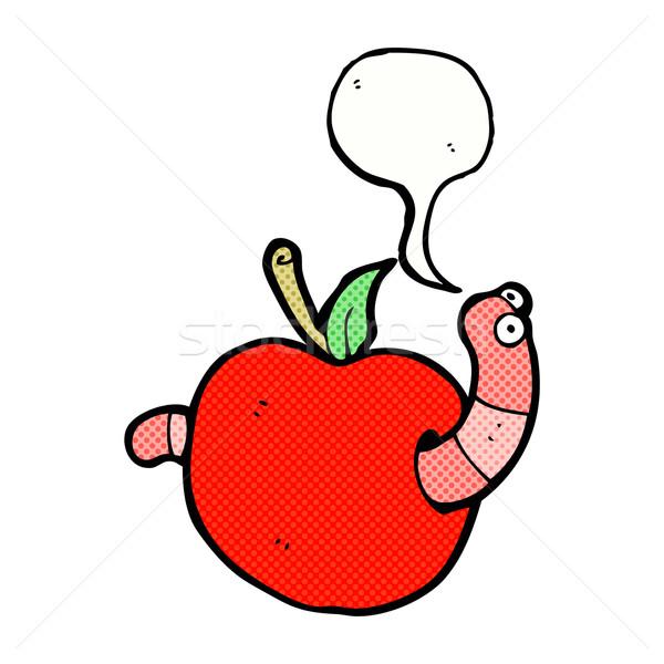Desenho animado verme maçã balão de fala comida mão Foto stock © lineartestpilot