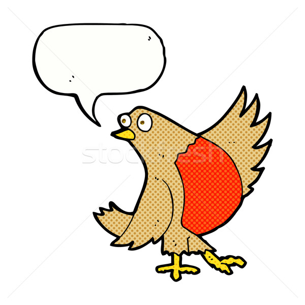 cartoon dancing robin with speech bubble Stock photo © lineartestpilot