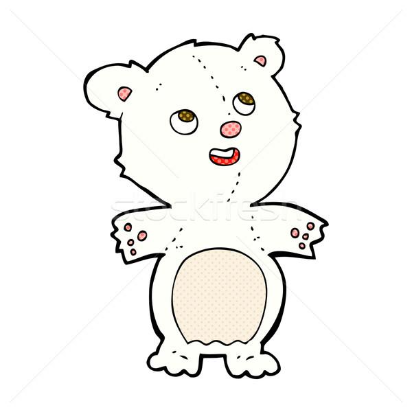 Komische cartoon gelukkig weinig ijsbeer retro Stockfoto © lineartestpilot