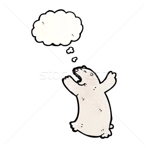 сердиться полярный медведь Cartoon говорить ретро мышления Сток-фото © lineartestpilot